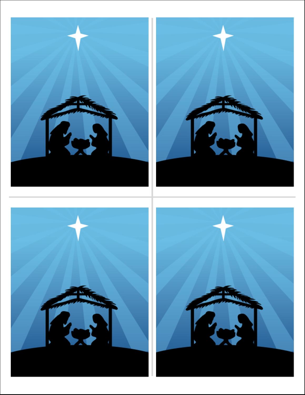 """5½"""" x 8½"""" Cartes de souhaits pliées en deux - Berceau de Noël"""