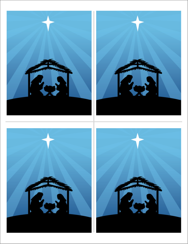 Berceau de Noël Cartes de souhaits pliées en deux - gabarit prédéfini. <br/>Utilisez notre logiciel Avery Design & Print Online pour personnaliser facilement la conception.