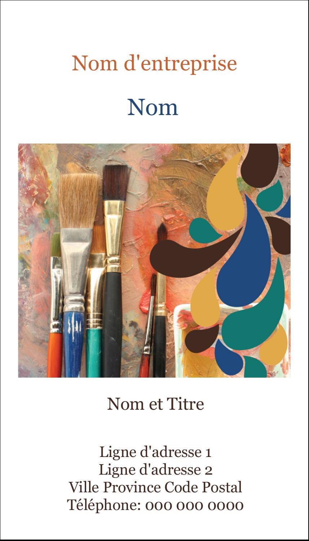 """2"""" x 3½"""" Carte d'affaire - Pinceaux modernes en tons naturels"""