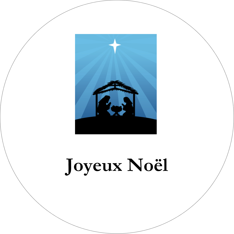 """2¼"""" x ¾"""" Étiquettes Voyantes - Berceau de Noël"""