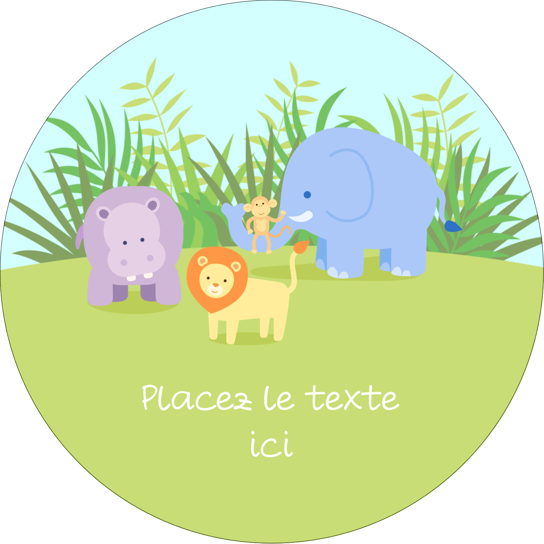 """2¼"""" x ¾"""" Étiquettes Voyantes - Bébé safari"""