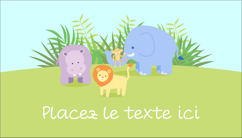 """2"""" x 3½"""" Carte d'affaire - Bébé safari"""