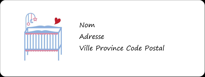 """1½"""" x 4"""" Étiquettes D'Adresse - Lit de bébé"""