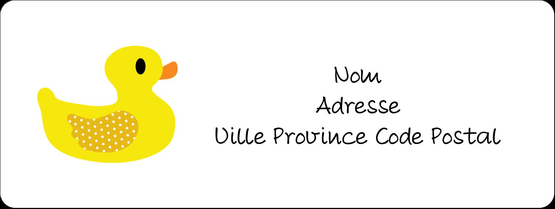 """1½"""" x 4"""" Étiquettes D'Adresse - Petit canard"""