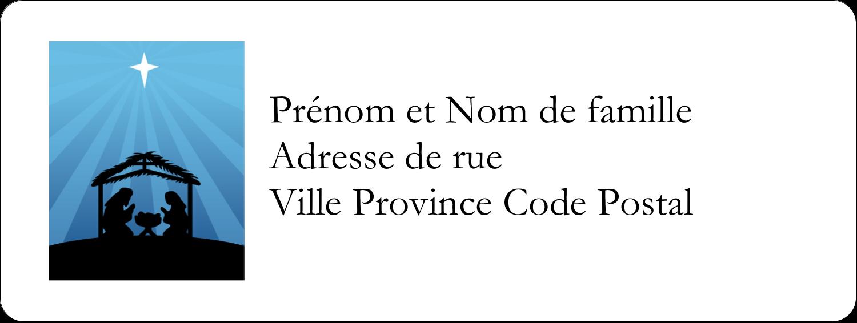 """1½"""" x 4"""" Étiquettes D'Adresse - Berceau de Noël"""