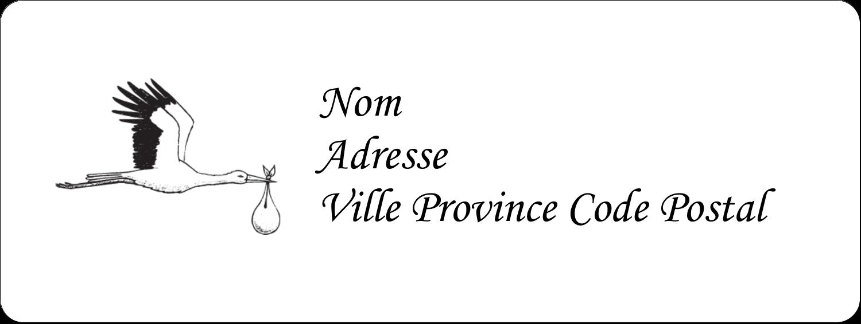 """1½"""" x 4"""" Étiquettes D'Adresse - Cigogne et bébé d'antan"""