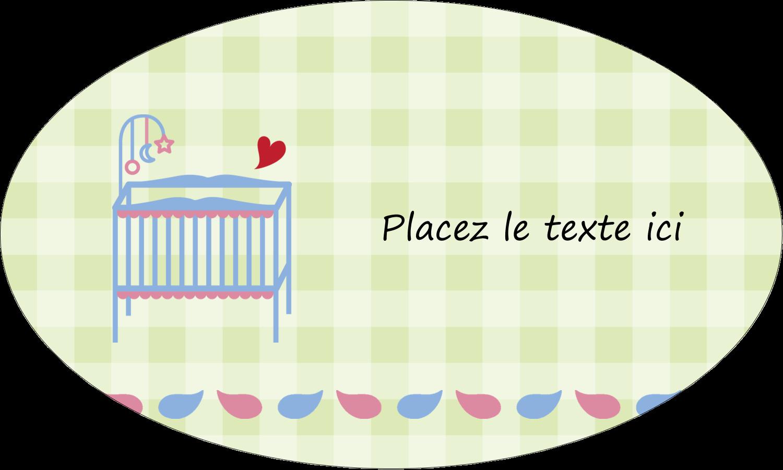 """1½"""" x 1½"""" Étiquettes carrées - Lit de bébé"""