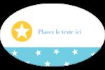 Étoiles avec tons bleus et jaunes Étiquettes ovales - gabarit prédéfini. <br/>Utilisez notre logiciel Avery Design & Print Online pour personnaliser facilement la conception.