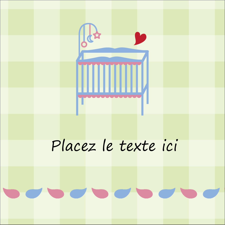 """2"""" x 2"""" Étiquettes carrées - Lit de bébé"""