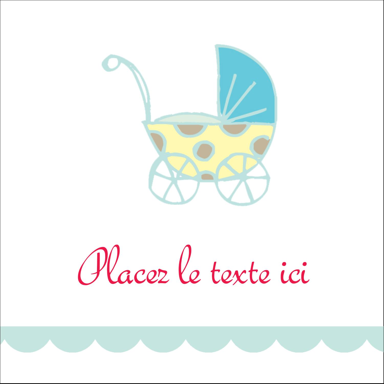 """1½"""" x 1½"""" Étiquettes carrées - Poussette pour bébé avec tons bleus"""