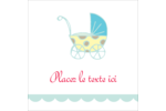 Poussette pour bébé avec tons bleus  Étiquettes carrées - gabarit prédéfini. <br/>Utilisez notre logiciel Avery Design & Print Online pour personnaliser facilement la conception.