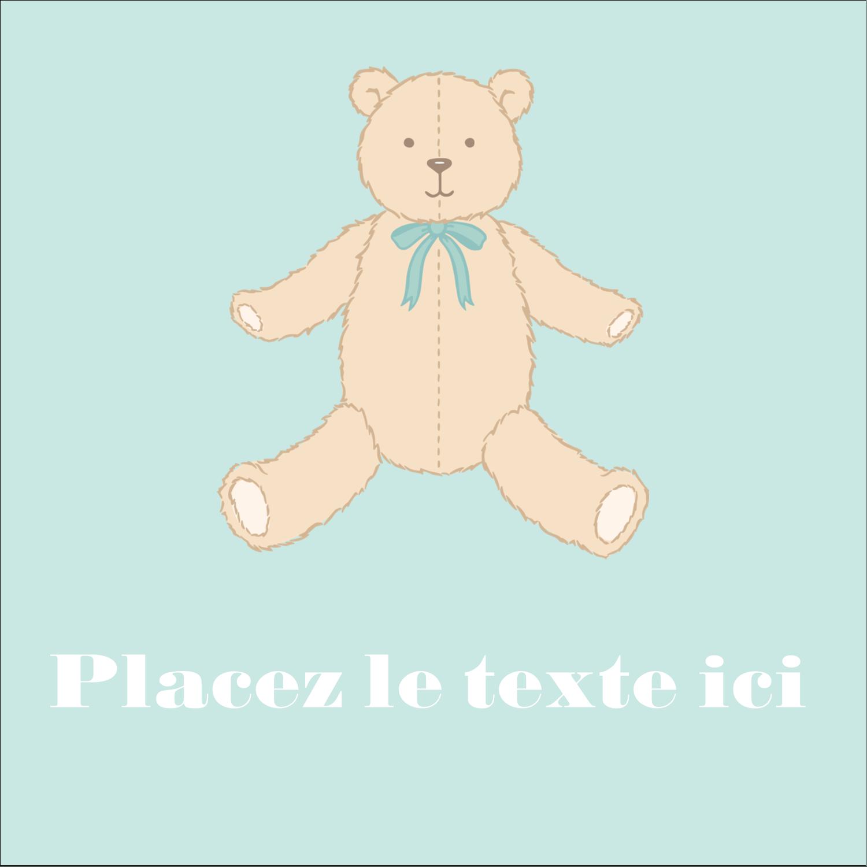 """1½"""" x 1½"""" Étiquettes carrées - Nounours pour bébé"""