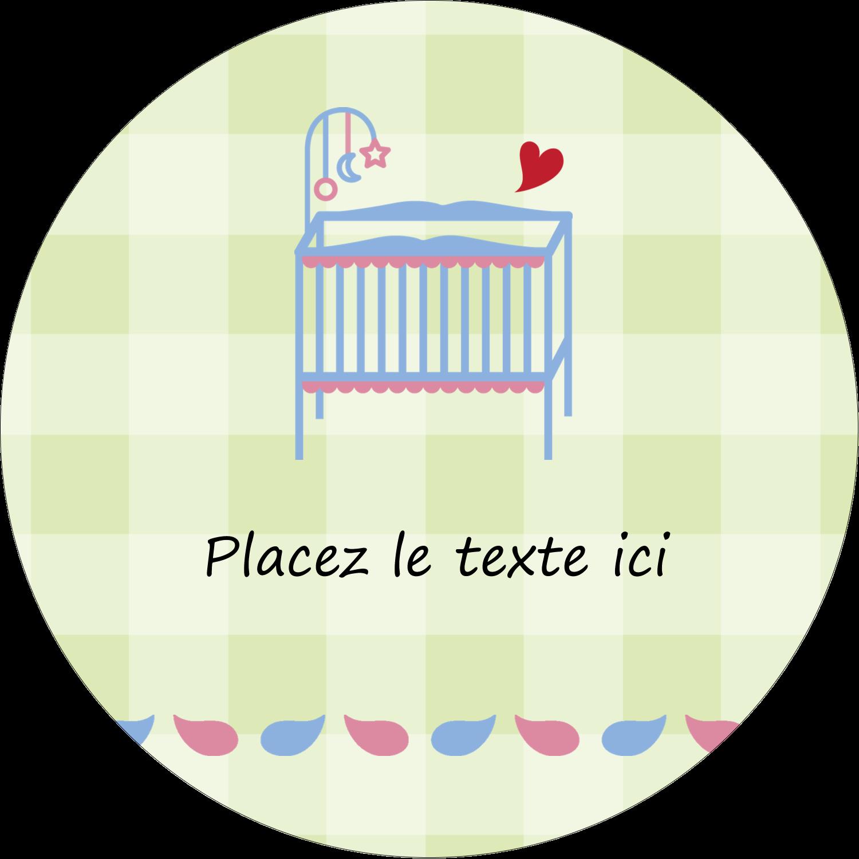 """2½"""" Diameter Étiquettes rondes - Lit de bébé"""