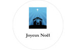 Berceau de Noël Étiquettes rondes - gabarit prédéfini. <br/>Utilisez notre logiciel Avery Design & Print Online pour personnaliser facilement la conception.