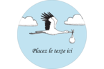 Cigogne et bébé d'antan Étiquettes arrondies - gabarit prédéfini. <br/>Utilisez notre logiciel Avery Design & Print Online pour personnaliser facilement la conception.