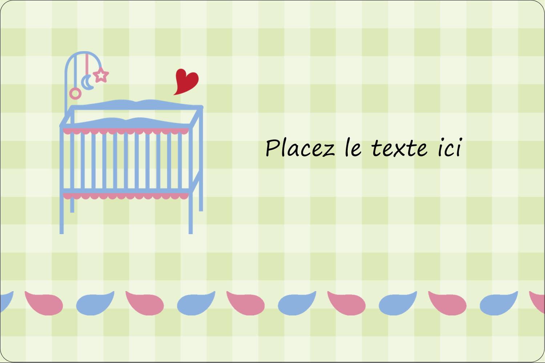 """3"""" x 3¾"""" Étiquettes rectangulaires - Lit de bébé"""