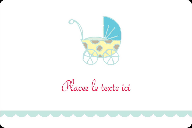 """3"""" x 3¾"""" Étiquettes rectangulaires - Poussette pour bébé avec tons bleus"""