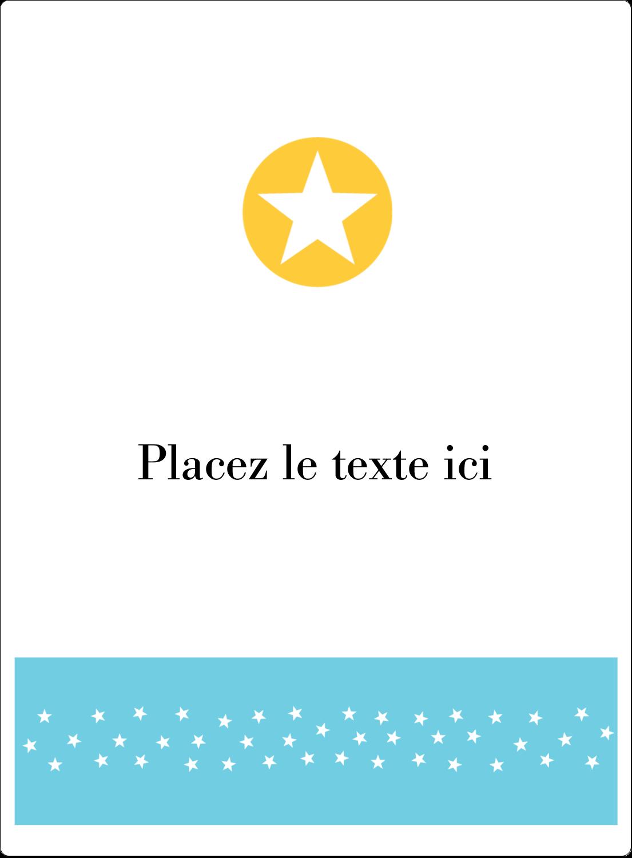 """4¾"""" x 3½"""" Étiquettes rectangulaires - Étoiles avec tons bleus et jaunes"""