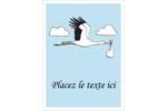 Cigogne et bébé d'antan Étiquettes rondes - gabarit prédéfini. <br/>Utilisez notre logiciel Avery Design & Print Online pour personnaliser facilement la conception.