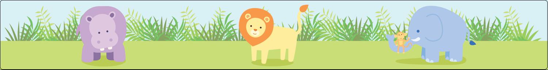 "1½"" x 2½"" Étiquettes ovales - Bébé safari"