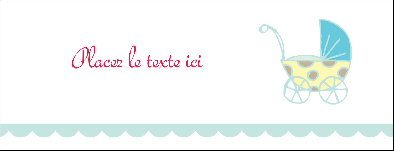 """1-7/16"""" x 3¾"""" Affichette - Poussette pour bébé avec tons bleus"""