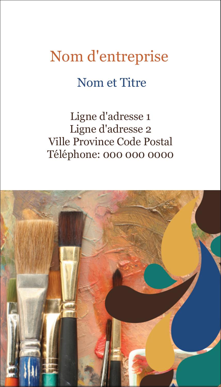 """3½"""" x 2"""" Carte d'affaire - Pinceaux modernes en tons naturels"""
