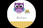 Bébé hibou Étiquettes rondes - gabarit prédéfini. <br/>Utilisez notre logiciel Avery Design & Print Online pour personnaliser facilement la conception.