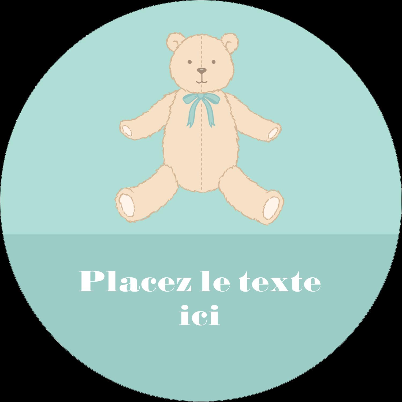 """3"""" Diameter Étiquettes rondes - Nounours pour bébé"""