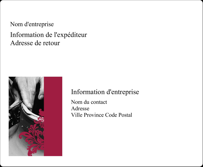 """3⅓"""" x 4"""" Étiquettes d'expédition - Art noir et rouge"""