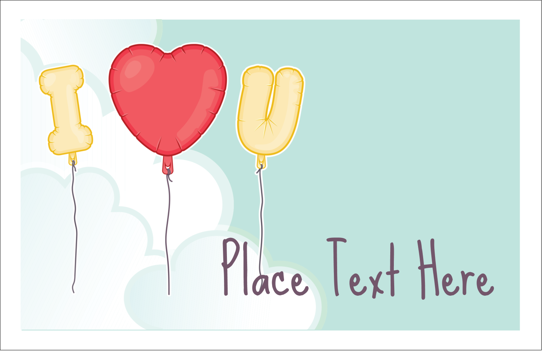 "5½"" x 8½"" Greeting Card - Valentine Balloon Love"