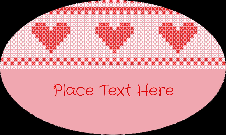 "1½"" x 2½"" Oval Glossy Label - Valentine Cross Stitch"