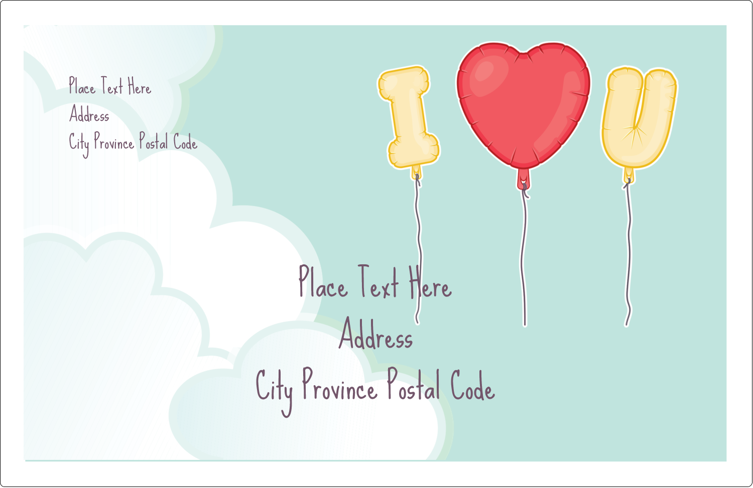 "5½"" x 8½"" Shipping Label - Valentine Balloon Love"