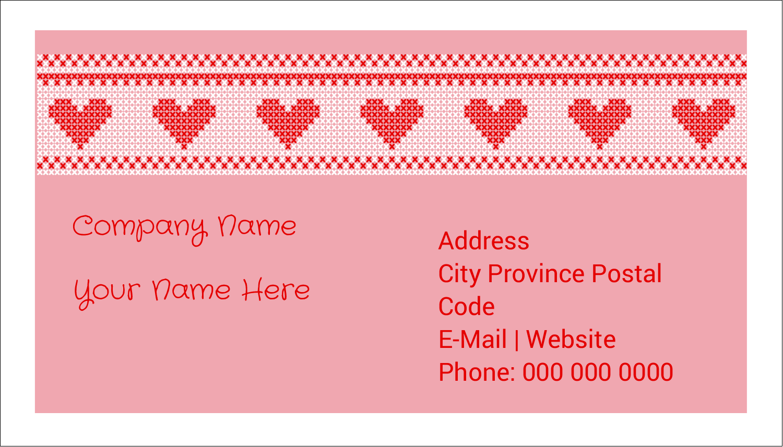 "2"" x 3½"" Business Card - Valentine Cross Stitch"