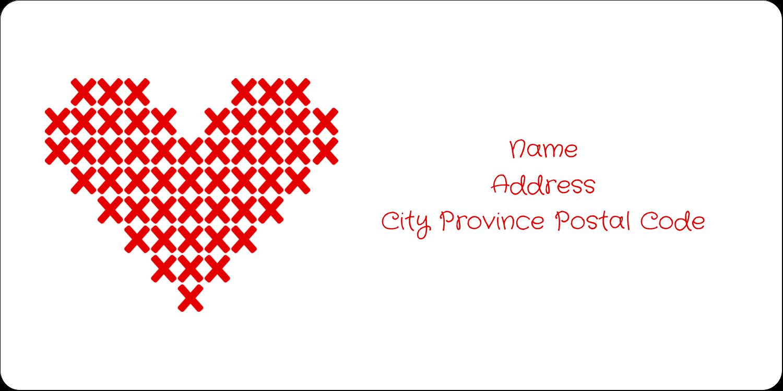"2"" x 4"" Shipping Label - Valentine Cross Stitch"