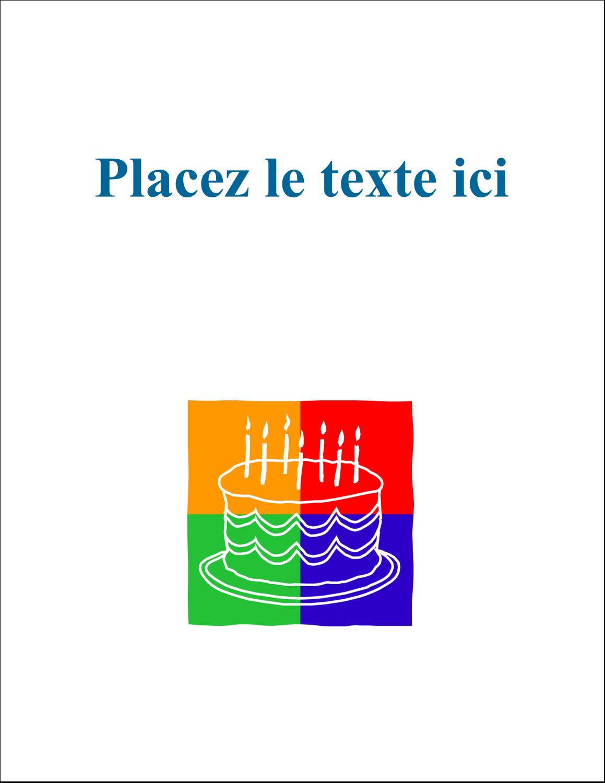 """5½"""" x 4¼"""" Carte Postale - Gâteau d'anniversaire"""