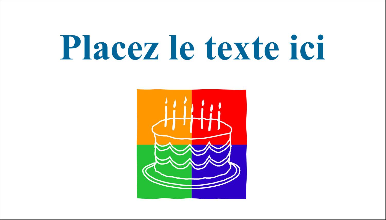 """2"""" x 3½"""" Carte d'affaire - Gâteau d'anniversaire"""