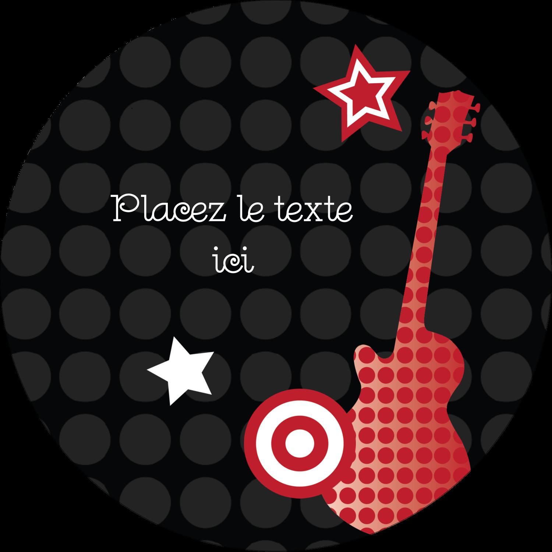 """2½"""" Diameter Étiquettes rondes - Guitare d'anniversaire"""
