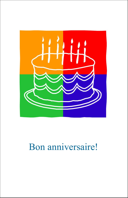 """8½"""" x 5"""" Cartes Et Articles D'Artisanat Imprimables - Gâteau d'anniversaire"""