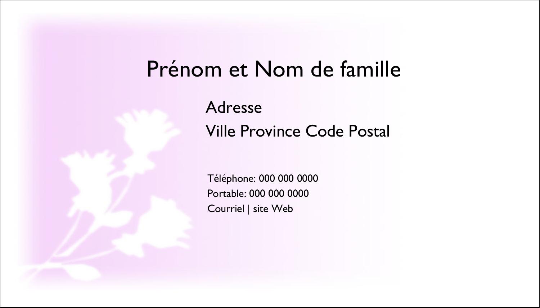 """2"""" x 3½"""" Carte d'affaire - Trois fleurs"""