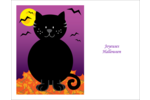 Chatte noire d'Halloween Cartes Et Articles D'Artisanat Imprimables - gabarit prédéfini. <br/>Utilisez notre logiciel Avery Design & Print Online pour personnaliser facilement la conception.