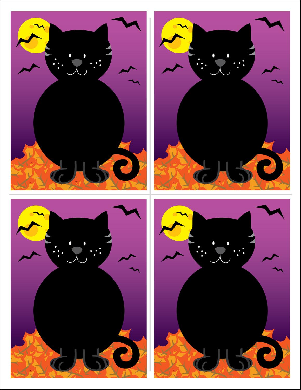 """8½"""" x 11"""" Cartes Et Articles D'Artisanat Imprimables - Chatte noire d'Halloween"""