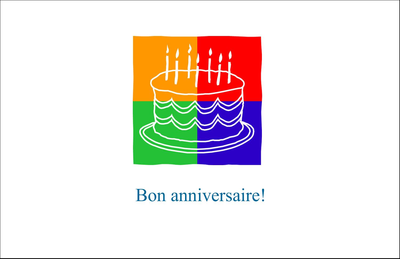 """5½"""" x 8½"""" Cartes de souhaits pliées en deux - Gâteau d'anniversaire"""