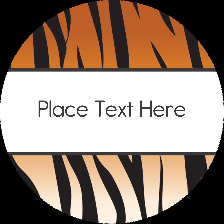 "2"" Round Label - Tiger Print"