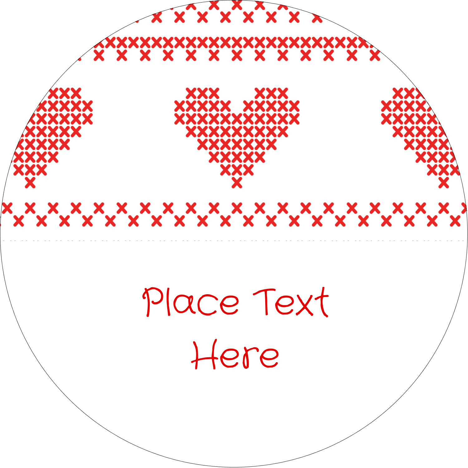 "2½"" Round Label - Valentine Cross Stitch"