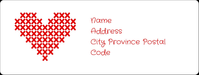 "1"" x 2⅝"" Address Label - Valentine Cross Stitch"
