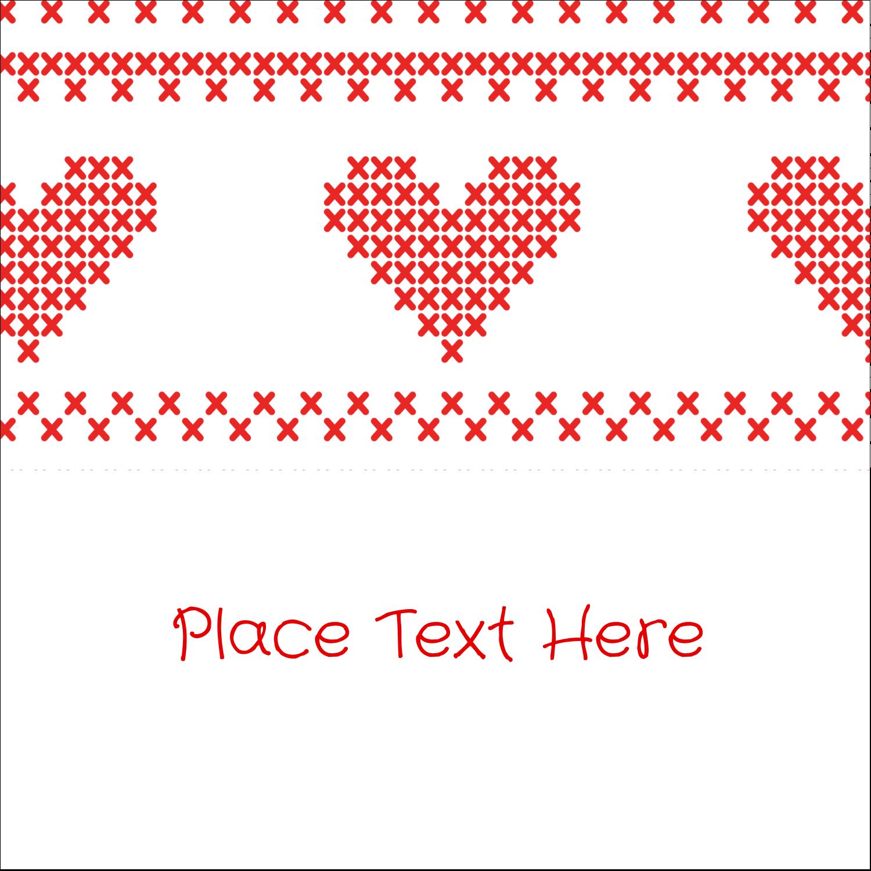 "2"" x 2"" Sqaure Label - Valentine Cross Stitch"
