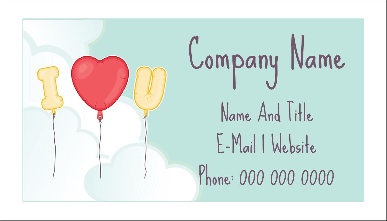 """2"""" x 3½"""" Business Card - Valentine Balloon Love"""