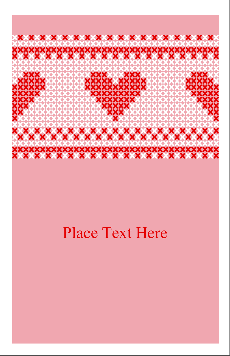 "5"" x 8½"" Half Fold Card - Valentine Cross Stitch"