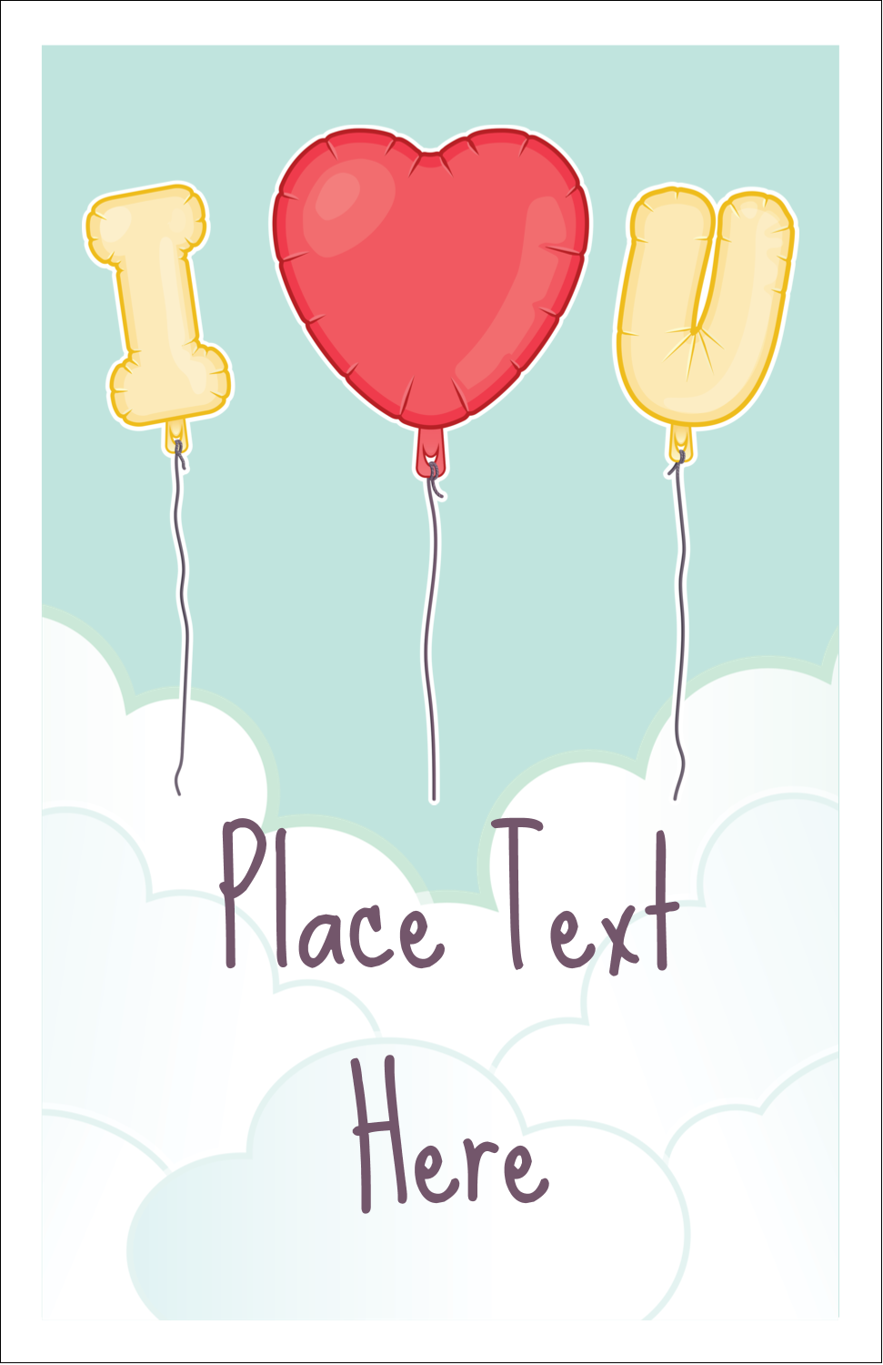 "5"" x 8½"" Half Fold Card - Valentine Balloon Love"