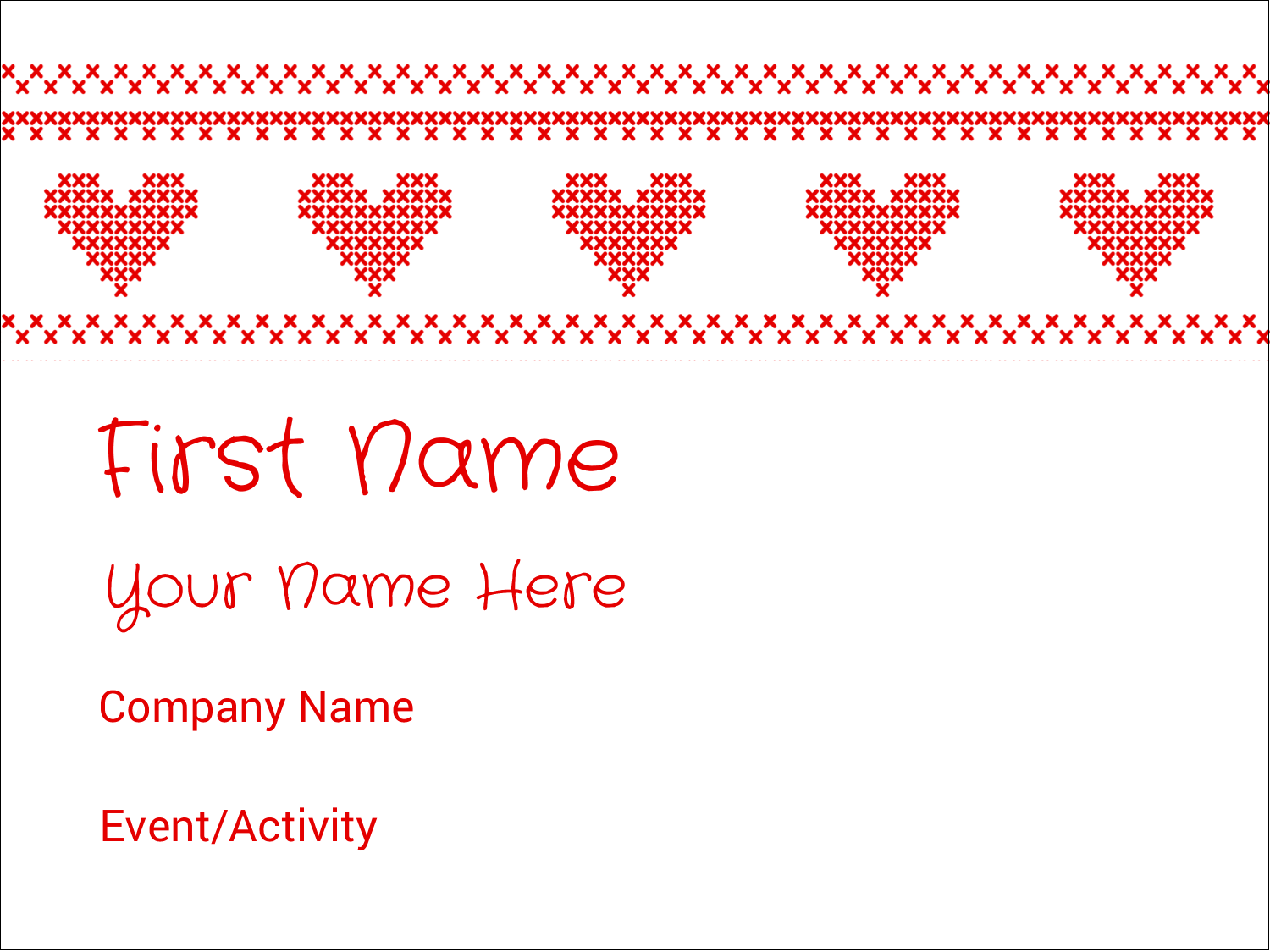 "3"" x 4"" Name Tags - Valentine Cross Stitch"